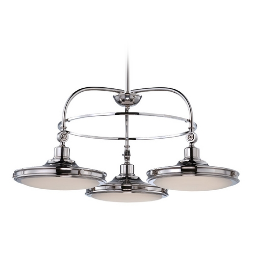 Nuvo Lighting LED Chandelier with White Glass in Polished Nickel Finish 62/166