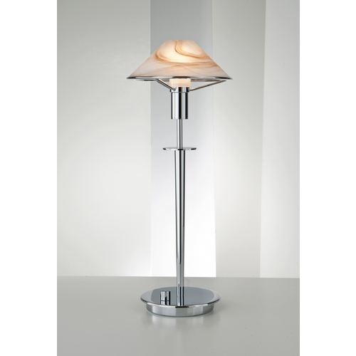 Holtkoetter Lighting Holtkoetter Modern Table Lamp with Alabaster Glass in Chrome Finish 6514 CH ABR
