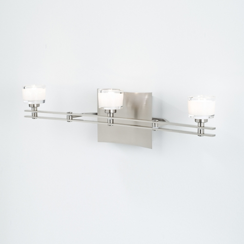 Holtkoetter Lighting Holtkoetter Modern Bathroom Light with White Glass in Satin Nickel Finish 5583 SN G5011