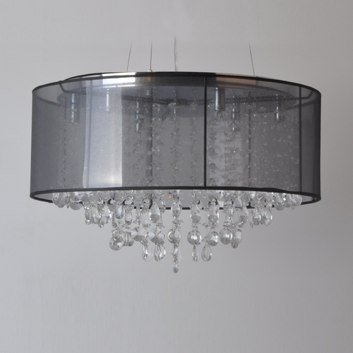 Avenue Lighting Avenue Lighting Riverside Drive Stainless Pendant Light with Drum Shade HF1505-BLK