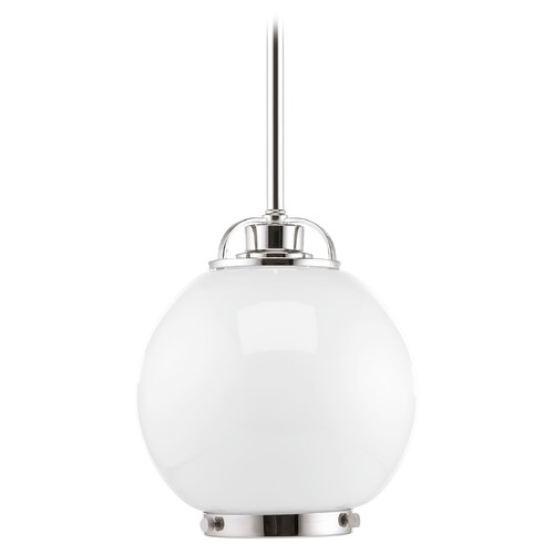 Progress Lighting Progress Lighting Chronicle Polished Nickel Mini-Pendant Light with Globe Shade P5309-104