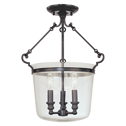 Hudson Valley Lighting Semi-Flushmount Light with Clear Glass in Old Bronze Finish 130-OB