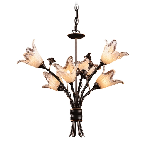 Elk Lighting Chandelier with Beige / Cream Glass in Aged Bronze Finish 7958/6