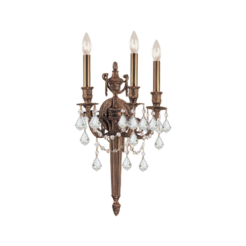 Crystorama Lighting Crystal Sconce Wall Light in Matte Brass Finish 753-MB-CL-S