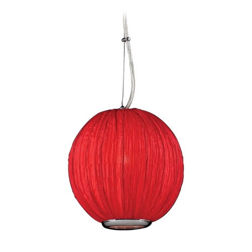PLC Lighting Modern Mini-Pendant Light with Red Shade 73001  RED