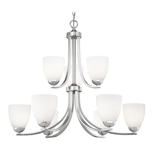 Design Classics Lighting Nine Light Chandelier with Opal White Bell Glass in Chrome Finish 586-26 GL1024MB