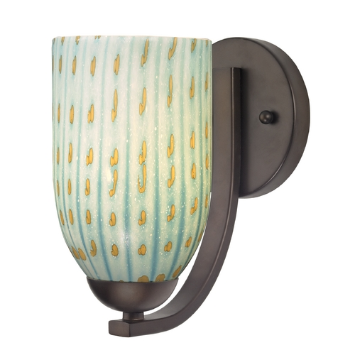 Design Classics Lighting Sconce with Turquoise Art Glass in Bronze Finish 585-220 GL1003D