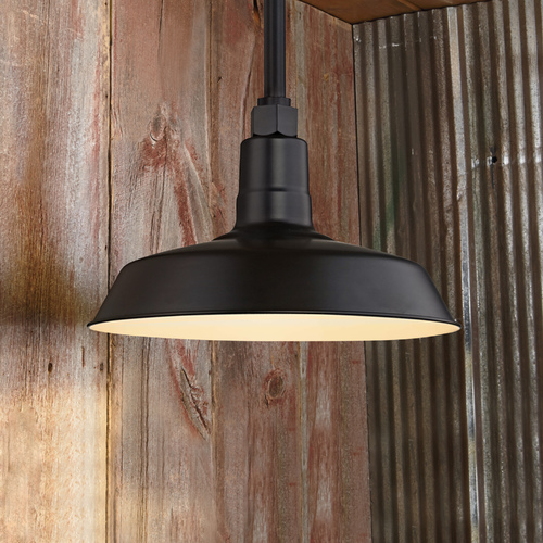 Recesso Lighting by Dolan Designs Black Pendant Barn Light with 12-Inch Shade BL-STM-BLK/BL-SH12-BLK