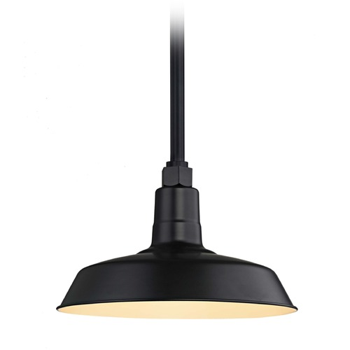 Recesso Lighting by Dolan Designs Black Pendant Barn Light with 12