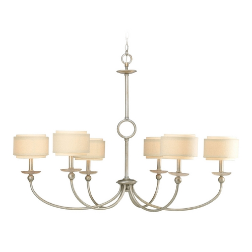 Progress Lighting Progress Chandelier with Beige / Cream Shades in Silver Ridge Finish P4463-134