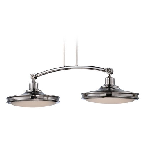 Nuvo Lighting LED Island Light with White Glass in Polished Nickel Finish 62/167