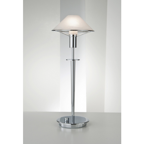 Holtkoetter Lighting Holtkoetter Modern Table Lamp with Alabaster Glass in Chrome Finish 6514 CH AWH