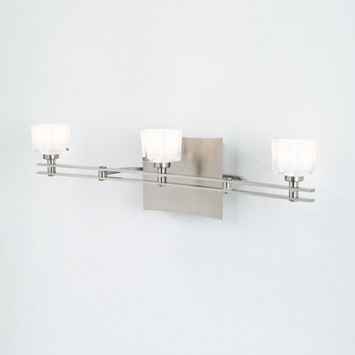 Holtkoetter Lighting Holtkoetter Modern Bathroom Light with White Glass in Satin Nickel Finish 5583 SN G5012
