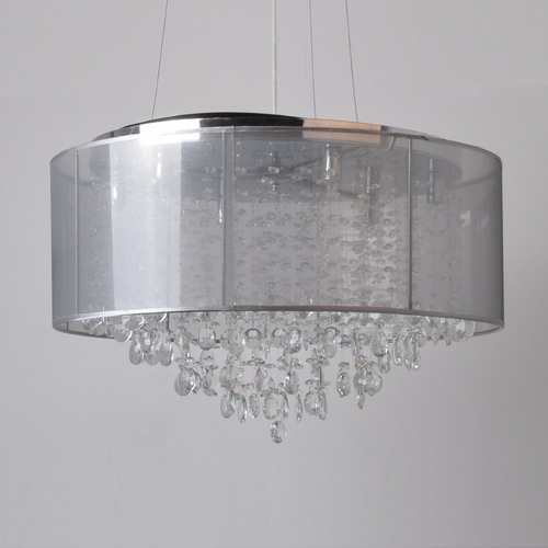 Avenue Lighting Avenue Lighting Riverside Drive Stainless Pendant Light with Drum Shade HF1505-SLV