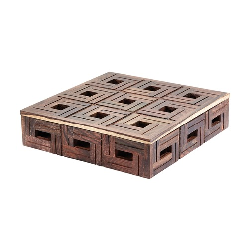 Dimond Lighting Chocolate Teak Patterned Box - Large 784072