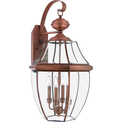 Quoizel Lighting Outdoor Wall Light with Clear Glass in Aged Copper Finish NY8339AC
