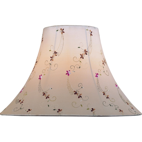 Lite Source Lighting Light Beige Jcquard Bell Lamp Shade with Spider Assembly CH1165-18