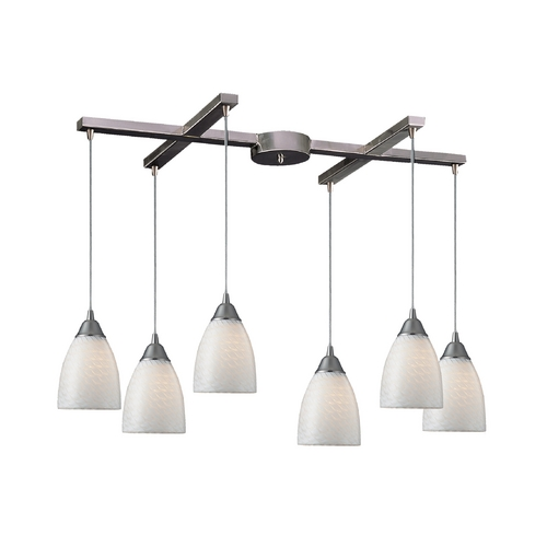 Elk Lighting Modern Multi-Light Pendant Light with Art Glass and 6-Lights 416-6WS