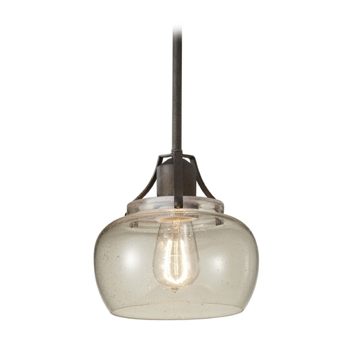 Feiss Lighting Retro Style Mini-Pendant Light with Seeded Glass Shade P1234RI