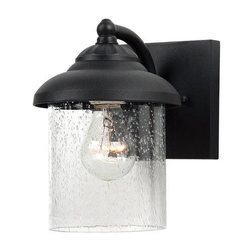 Sea Gull Lighting Outdoor Wall Light with Clear Glass in Black Finish 84068-12
