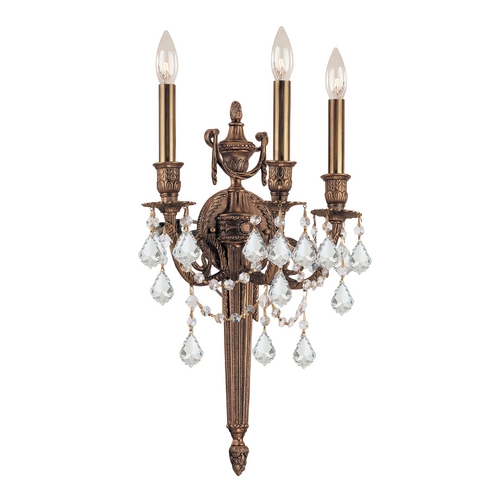 Crystorama Lighting Crystal Sconce Wall Light in Matte Brass Finish 753-MB-CL-SAQ