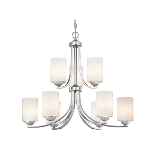 Design Classics Lighting Chrome Modern Chandelier with White Art Glass and Nine Lights 586-26 GL1020C