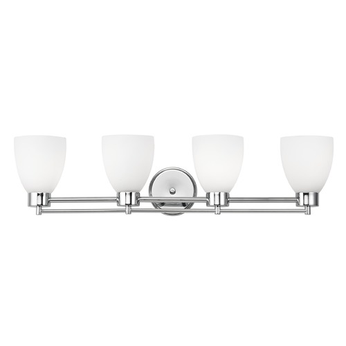 Design Classics Lighting Modern Bathroom Light with White Glass - Four Lights 704-26 GL1028MB