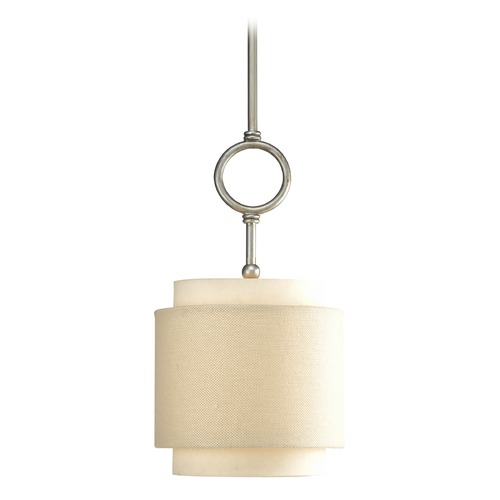 Progress Lighting Progress Mini-Pendant Light with Beige / Cream Shade P5054-134