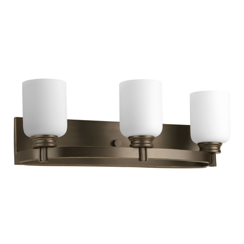 Progress Lighting Progress Bathroom Light with White Glass in Antique Bronze Finish P3058-20