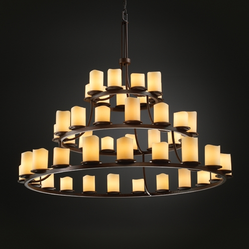 Justice Design Group Justice Design Group Candlearia Collection Chandelier CNDL-8714-14-CREM-DBRZ