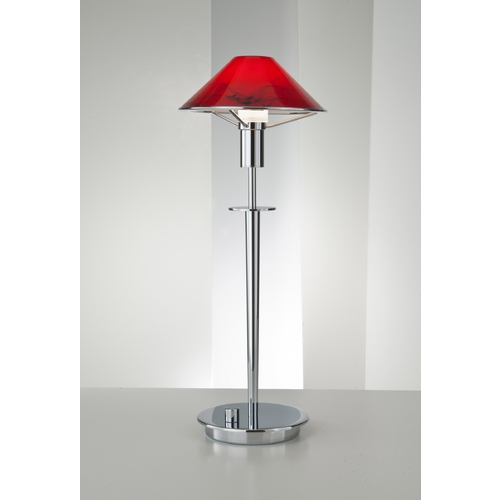 Holtkoetter Lighting Holtkoetter Modern Table Lamp with Red Glass in Chrome Finish 6514 CH MGR