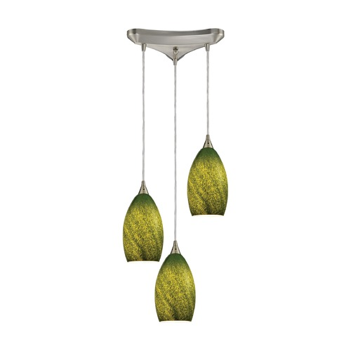 Elk Lighting Elk Lighting Earth Satin Nickel Multi-Light Pendant with Bowl / Dome Shade 10510/3GRS