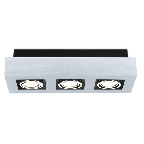 Eglo Lighting Eglo Loke Brushed Aluminum, Chrome, Black Semi-Flushmount Light 89077A