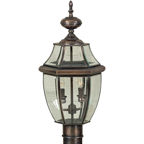Quoizel Lighting Post Light with Clear Glass in Aged Copper Finish NY9042AC
