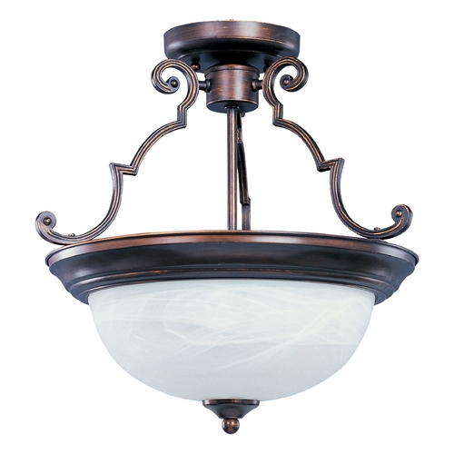 Maxim Lighting Semi-Flushmount Light with White Glass in Oil Rubbed Bronze Finish 5843MROI