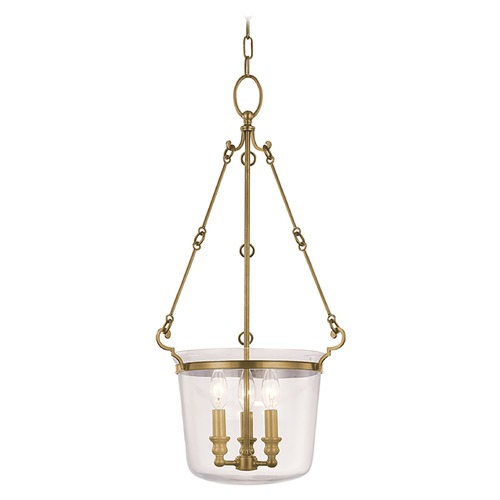 Hudson Valley Lighting Drum Pendant Light with Clear Glass in Aged Brass Finish 131-AGB