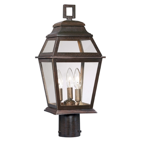 Minka Lavery Post Light with Clear Glass in Architectural Bronze Finish 9286-171
