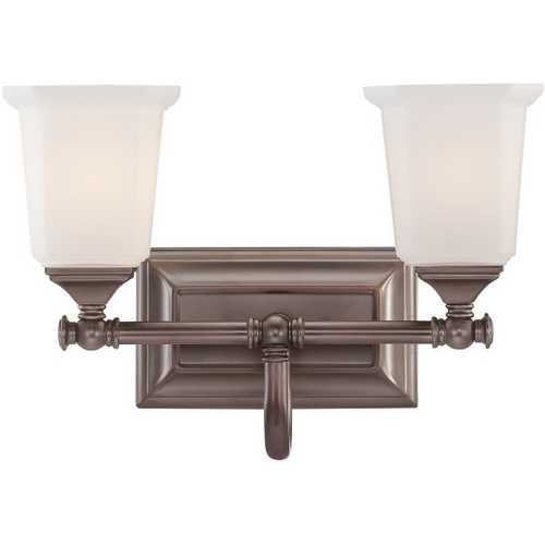 Quoizel Lighting Bathroom Light with White Glass in Harbor Bronze Finish NL8602HO