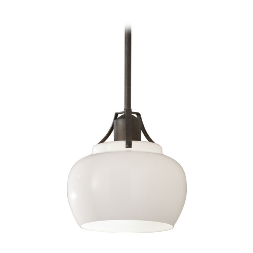 Feiss Lighting Mini-Pendant Light with White Glass P1235RI