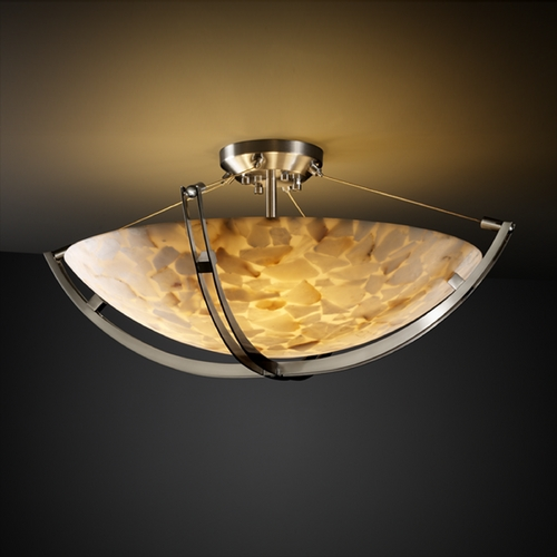 Justice Design Group Justice Design Group Alabaster Rocks! Collection Semi-Flushmount Light ALR-9712-35-NCKL