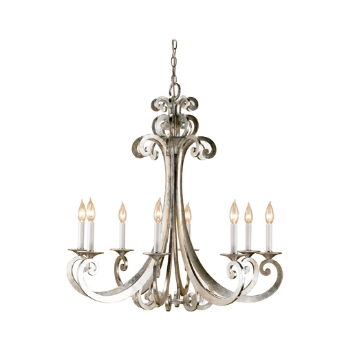 Currey and Company Lighting Chandelier in Contemporary Silver Leaf Finish 9666