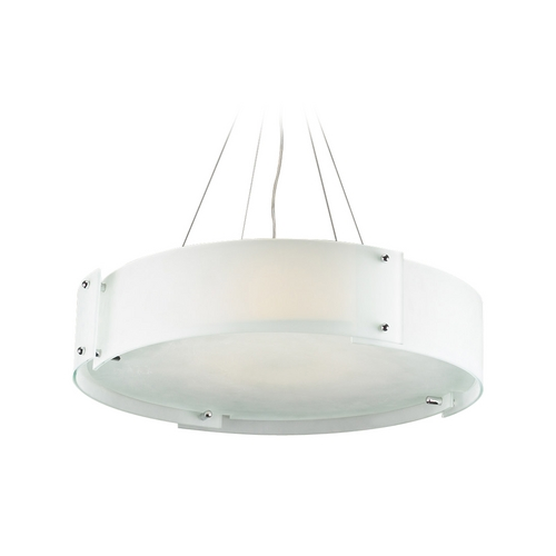 PLC Lighting Modern Drum Pendant Light with White Glass in Polished Chrome Finish 7289 PC