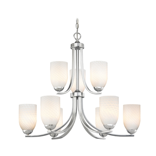 Design Classics Lighting Chrome Modern Chandelier with Nine Lights and White Art Glass 586-26 GL1020D