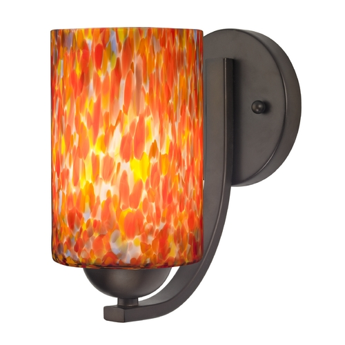Design Classics Lighting Sconce with Art Glass in Bronze Finish 585-220 GL1012C