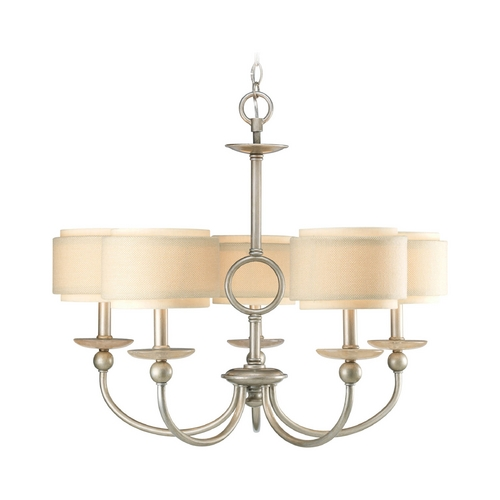 Progress Lighting Progress Chandelier with Beige / Cream Shades in Silver Ridge Finish P4462-134