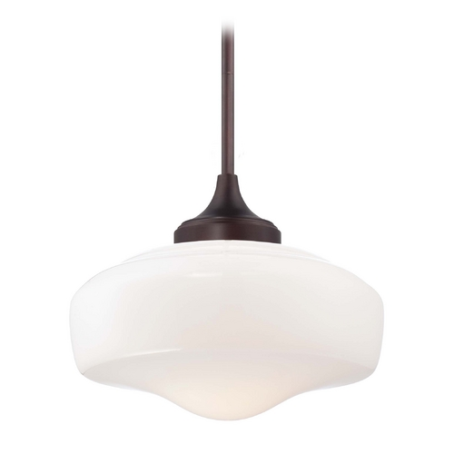 Minka Lavery Drum Pendant Light with White Glass in Brushed Bronze Finish 2258-576