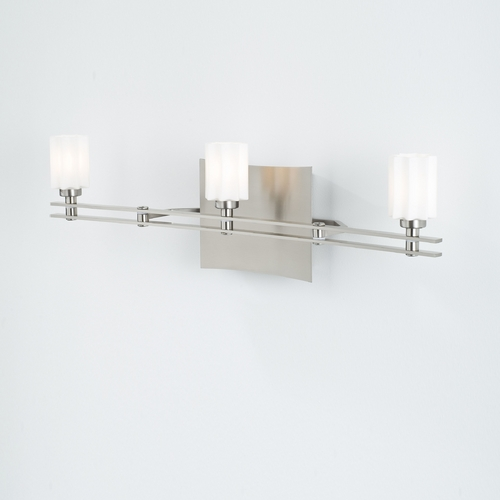 Holtkoetter Lighting Holtkoetter Modern Bathroom Light with White Glass in Satin Nickel Finish 5583 SN G5014