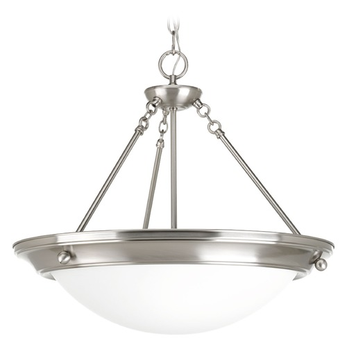 Progress Lighting Progress Lighting Eclipse Brushed Nickel Pendant Light with Bowl / Dome Shade P7323-09WB