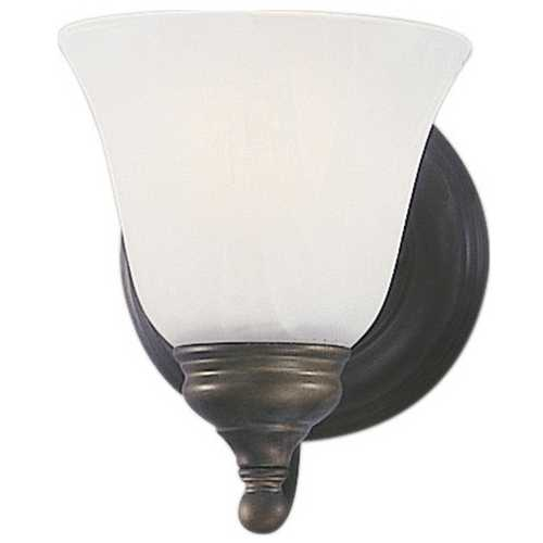 Feiss Lighting Sconce Wall Light with Alabaster Glass in Oil Rubbed Bronze Finish VS6701-ORB