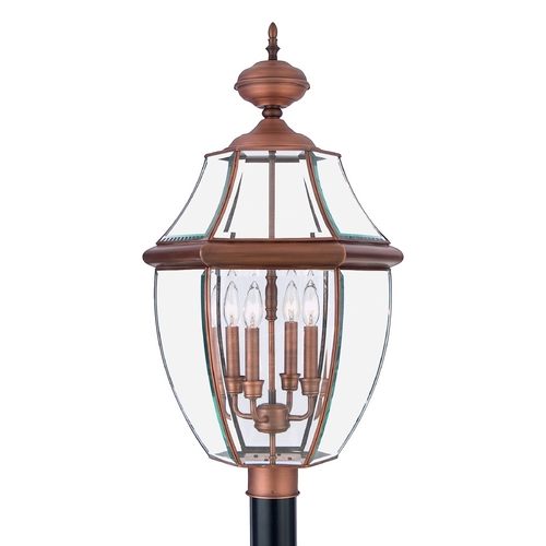 Quoizel Lighting Post Light with Clear Glass in Aged Copper Finish NY9045AC